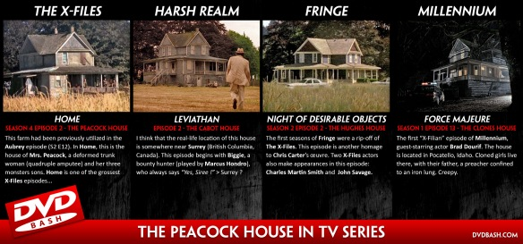 The creepy Peacock house of The X-Files 'Home' / Harsh Realm 'Leviathan' / Fringe 'Night of desirable objects' / Millennium 'Force Majeure' [dvdbash.com]