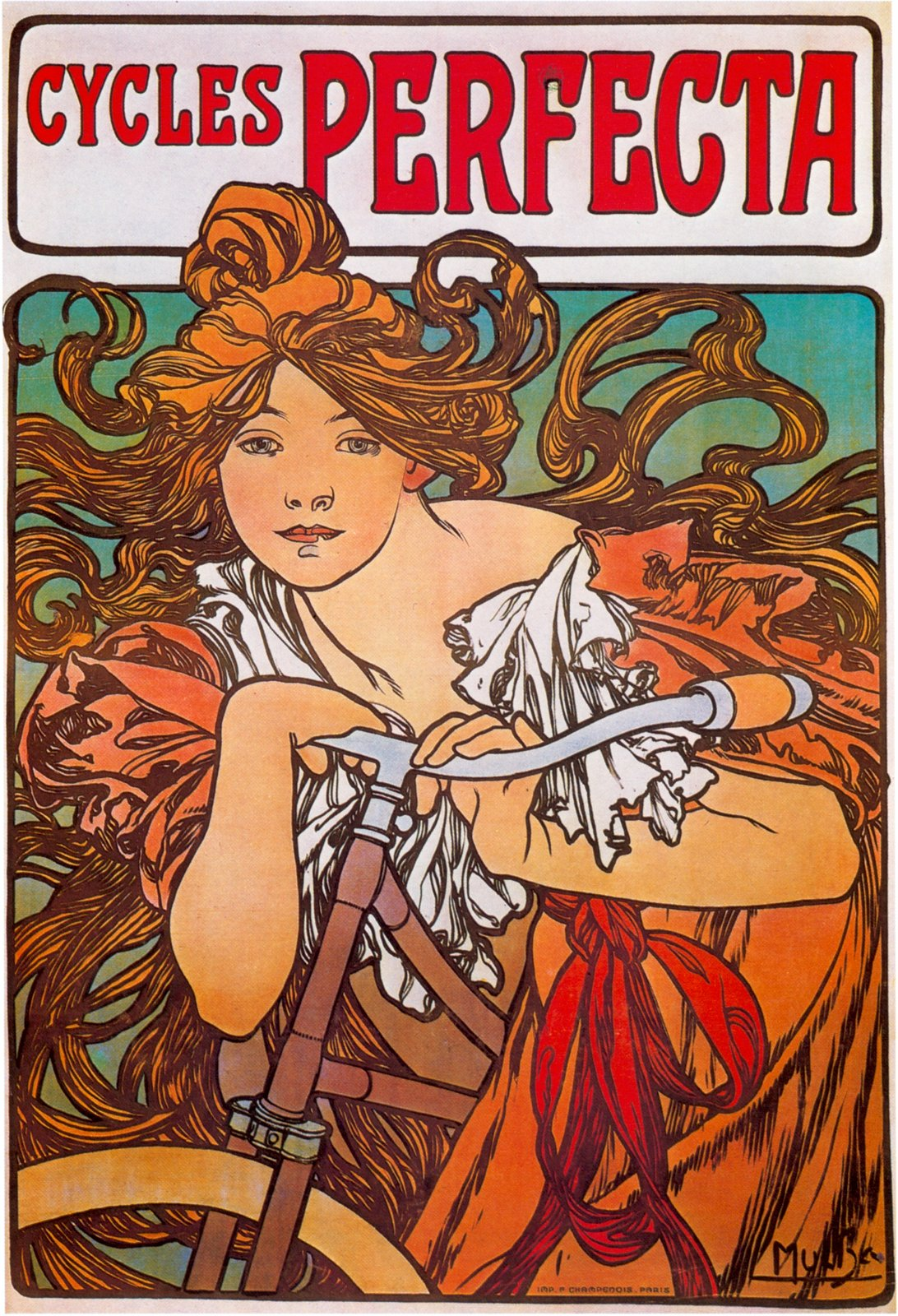 mucha advertising cycles perfecta 1897. Black Bedroom Furniture Sets. Home Design Ideas
