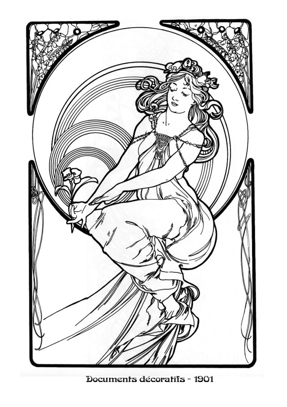 art nouveau coloring pages - photo#33