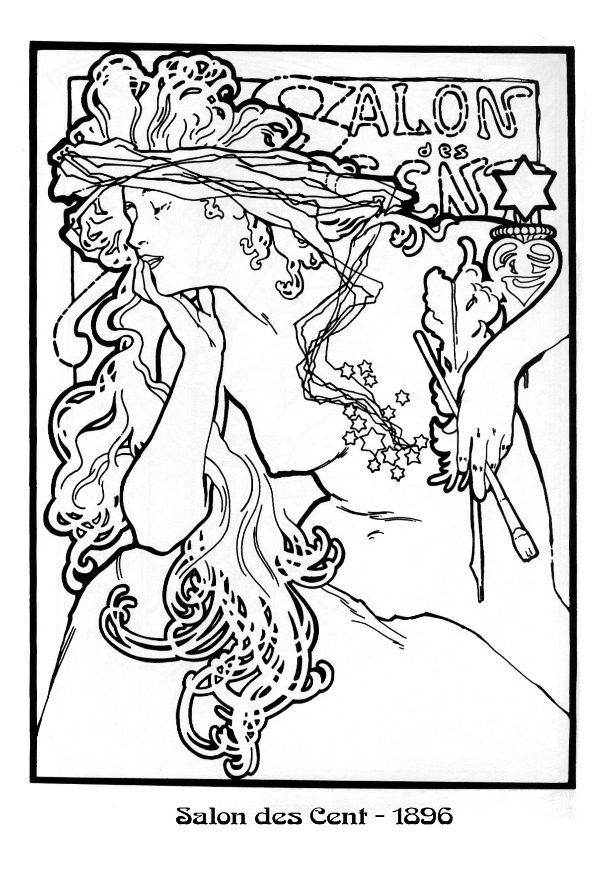 Mucha black white25 dvdbash dvdbash for Free art deco coloring pages
