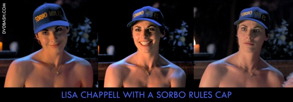 Lisa Chappell with a 'Sorbo Rules' cap - dvdbash.com